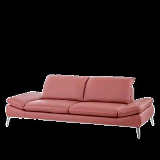 Willi Schillig Sofa Enjoy & More 15450 in rotem Leder LK40 Z51_13 Farbton berry mit gleichfarbiger Kedernaht Sofa inklusive Sitztiefenverstellung mit chromglänzenden Metallfüßen