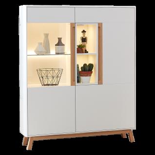 Die Hausmarke Highboard Light Line 5 388-009 in kristallweiß und Eiche hell Massivholz mit zwei Türen ideal für Wohnzimmer oder Esszimmer