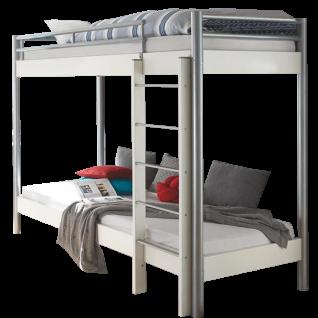 Hasena Space Concept Maxi 403 Etagenbett mit Holzleiter Liegefläche ca. 90x200 cm in weiss / alu optional mit Matratze und Lattenrost