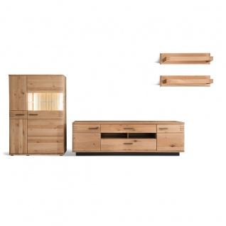MCA furniture Wohnkombination 3 Salvador Front in Balkeneiche Bianco Massivholz Korpus außen Eiche Bianco furniert geölt Art.Nr. SAD52W03