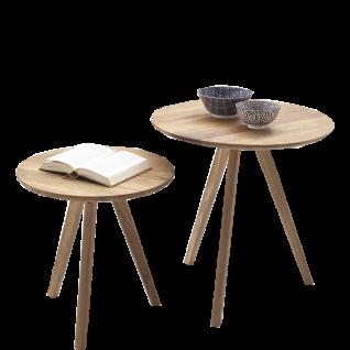 MCA Furniture Couchtisch Genny im 2er Set in Asteiche Massivholz geölt mit runder Tischplatte