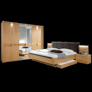 Disselkamp Cesan Schlafzimmer Drehtürenkleiderschrank Doppelbett zwei Nachtkonsolen Korpus Wildeiche Echtholzfurnier Front Wildeiche Echtholzfurnier mit Spiegel und Spaltholzeinlage