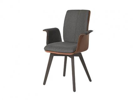 Bert Plantagie Stuhl Tara Wood Komfort 835C mit Bi-Color-Mattenpolsterung und Armlehen Polsterstuhl für Esszimmer Speisezimmerstuhl Gestellausführung Naht Reißverschlußfarbe und Bezug wählbar