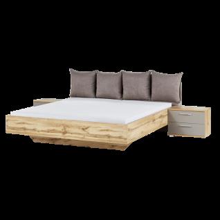 Schlafkontor Deltas Bett optional mit 2 Nachtkommoden in Wildeiche mit den Fronten in Basaltgrau