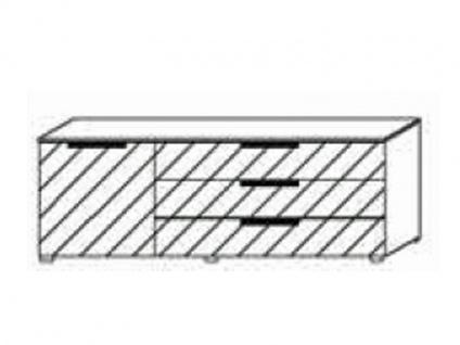 Kommode mit 1 Tür links und 3 Schubkästen rechts, Front Dekor matt