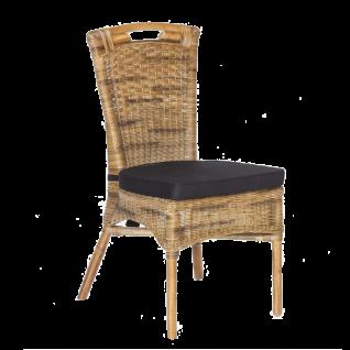 Sit Möbel RATTAN Stuhl aus Rattan Korbgeflecht inklusive Sitzkissen anthrazit