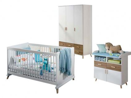 Rauch Packs Mieke-Extra Babyzimmer 3-teilig bestehend aus Sprossenbett, Kleiderschrank und Wickelkommode