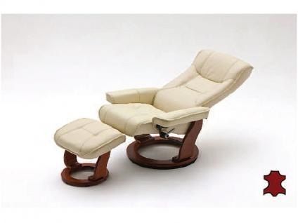 MCA furniture Hamilton Relaxsessel 64026CH5 Relaxer aus Leder/PVC incl. Hocker Gestell und Drehteller honigfarben