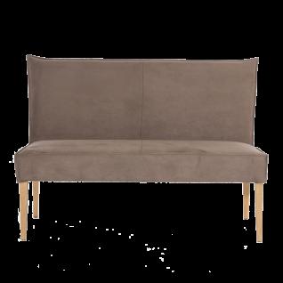 Standard Furniture Polsterbank Kinston mit Bezug nougat Sitzpolsterung auf Wellenunterfederung und Massivholzgestell Eiche natur