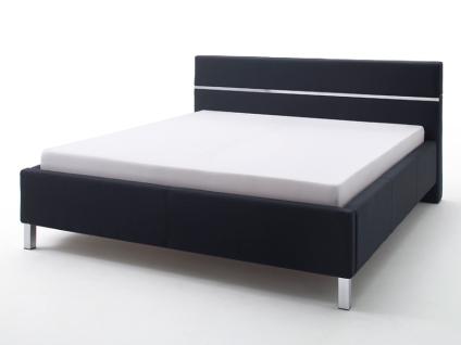 Meise Möbel Bellanotte 3 Polsterbett mit Stoffbezug CHARON mit glattem Kopfteil mit Chromeinlage Farb- und Fußvariante wählbar optional mit Leisten-Set für Unterkante von Bettseiten und Fußteil