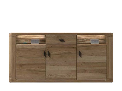 IDEAL-Möbel Sideboard Harmattan Type 10 moderne teilmassive Kommode mit 3 Holztüren 2 Fächern und 1 Schubkasten für Ihr Wohnzimmer oder Esszimmer Korpus Alteiche foliert Front Alteiche Lamelle Massivholz geölt