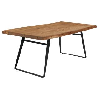 Niehoff Esstisch Santos 4263 Wald-Designtisch mit Bügelgestell Eisen schwarz und Massivholztischplatte Akazie natur Größe wählbar ideal für Ihr Esszimmer