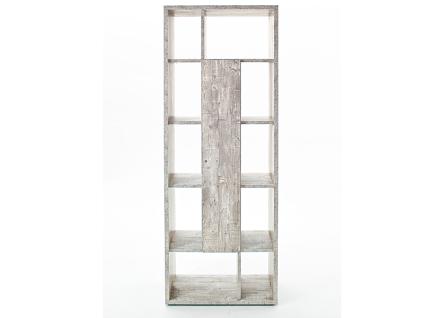 Mäusbacher Raumteiler mit Tür Mix 0500_1 Standregal mit 10 offenen Fächern und drei Einlegeböden hinter der Tür mit wählbarem Dekor