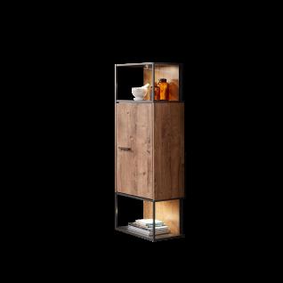 Wohn-Concept Manhattan Hängeelement 40 23 VV 10 moderner Hängeschrank im Industriestil mit einer Tür und zwei offenen Fächer für Ihr Wohnzimmer und Esszimmer auch als Standelement in Haveleiche Cognac MDF und Nachbildung Matera und mit Metallgestell in Gr