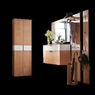 Wittenbreder Novara Garderobenkombination Nr. 02 komplette Garderobe für Ihren Flur und Eingangsbereich 6-teilige Vorschlagskombination im Wildeiche und Glas Weiß mattiert Griffe und Metallteile in Schwarz