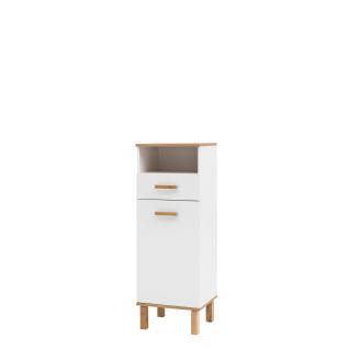 W. Schildmeyer Badmöbel Padua Highboard HB400 Badschrank mit einer Tür einem Schubkasten und einer Nische Korpus und Front Weiß Glanz Absetzung Eiche Landhaus Dekor Schrank mit Füßen aus Eiche Massivholz für Ihr Badezimmer