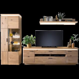 MCA furniture Wohnwand 1 Barcelona Art.Nr. BAR14W01 Front Balkeneiche Bianco Massivholz mit durchgehenden Lamellen Korpus Eiche Bianco furniert