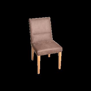 K+W Silaxx Massivholzstuhl 6057 mit angenehmer Kaltschaumpolsterung im Sitz und einem natürlichen Massivholzgestell sowie einer Vielzahl an farbenfrohen Bezügen aus Stoff oder Leder