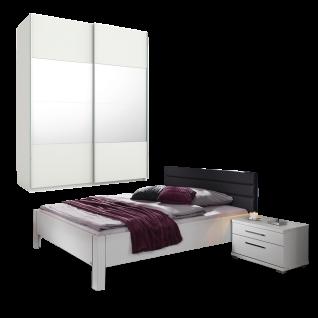 Rauch Steffen / Dialog Nice4Home Schlafzimmer 3-teilig bestehend aus Schwebetürenschrank 2-türig mit Spiegelauflage Bett mit Polsterkopfteil in Kunstleder basalt Liegefläche 120 x 200 cm inklusive 1 Nachtkommode