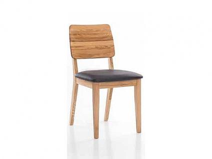 Standard Furniture Stuhl Norman 3 Gestell und Rückenlehne mit horizontaler Fräsung in Massivholz gepolstertem Sitz Stuhl für Esszimmer und Küche Bezug und Holzausführung wählbar