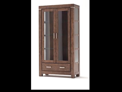 Euro Diffusion VICTORIA Doppelvitrine aus Akazie Massivholz in den Farbausführungen sand oder braun Oberfläche XXX geölt und gekälkt mit 2 Glastüren 2 Glasseiten und 1 Schubkasten