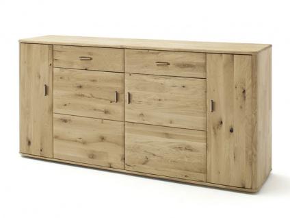 MCA furniture Ravello Sideboard RAX09T02 Front Balkeneiche Bianco Massivholz für Ihr Wohnzimmer oder Esszimmer mit 4 Türen und 2 Schubkästen