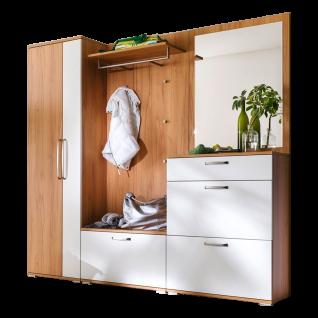 Wittenbreder Roubaix Garderobenkombination Nr. 12 komplette Garderobe für Ihren Flur und Eingangsbereich 5-teilige Vorschlagskombination im Dekor Kernbuche und Weiß matt