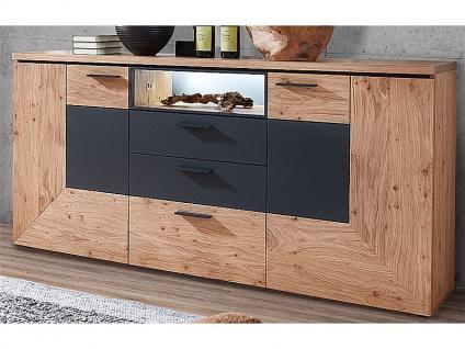 Schröder Kitzalm-Premium Sideboard 3729 furnierte Kommode mit drei Schubkästen zwei Türen Staufach und Lackakzent anthrazit Anrichte für Wohnzimmer und Esszimmer Beleuchtung wählbar
