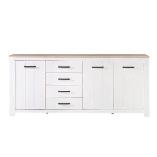 Forte Elara Sideboard ERXK241 für Ihr Wohnzimmer oder Esszimmer Kommode mit Türen und Schubkästen mit Korpus und Front in Weiß matt Dekor und Absetzungen in Bianco Eiche Nachbildung
