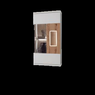 Ideal-Möbel Falan Hängevitrine Type 22 für Ihr Wohnzimmer moderne Vitrine mit 1 Glastür Korpus in Weiß mit Absetzungen in Eiche Artisan Folie inkl. integrierter LED-Beleuchtung in der Tür