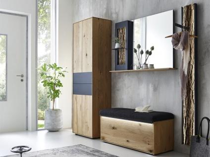 Hartmann Runa Garderobe Vorschlagskombination 104 vierteilig aus Massivholz Kerneiche natur gebürstet mit Applikation Rinde Garderobe für Diele Beleuchtung wählbar