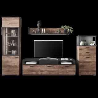 Ideal-Möbel Bacoor Wohnkombination 20 mit Vitrine Wandboard und Lowboard Dekor Eiche Ribbeck Cognac und Cosmos Grey Melamin mit Stahlprofilen