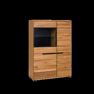 Elfo-Möbel Lola Vitrine 3994 in Eiche geölt teilmassiv mit vier Holztüren und einer Glastür mit Alurahmen schwarz für Ihr Wohnzimmer oder Esszimmer