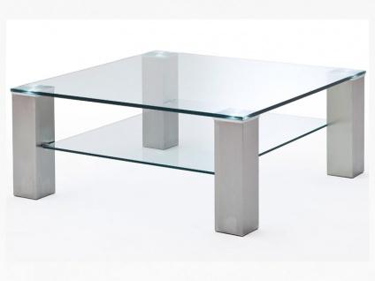 MCA Furniture Asta Couchtisch I quadratisch Art.Nr.: 58627Z14 Tischplatte und zusätzliche Ablage aus Glas Stollenfüße in Metall Edelstahloptik für Ihr Wohnzimmer