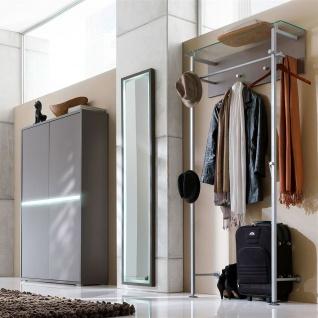 Wittenbreder Merano Garderobenkombination Nr. 05 komplette Garderobe für Ihren Flur und Eingangsbereich 3-teilige Vorschlagskombination mit Beleuchtung in Basalt Lack matt kombiniert mit Basalt Glas mattiert Metallelemente in matt - Vorschau 2