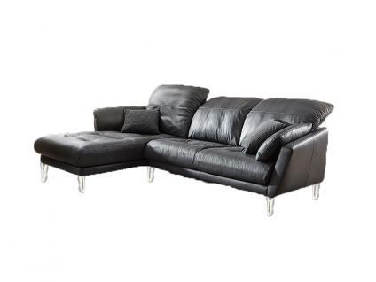 Willi Schillig Softy Plus 12311 Eckcouch mit Longchair links und 2 Sitzer Sofa groß mit Kopfstützensverstellung Seitenteilkissen und chromglänzenden Metallfüßen Bezug wählbar