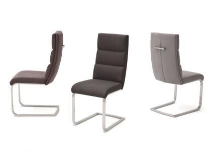 MCA furniture Giulia B 2er Set Freischwinger mit Griff hinten Gestell Flachrohr Edelstahl gebürstet Bezug wählbar Farbe wählbar für Esszimmer und Küche
