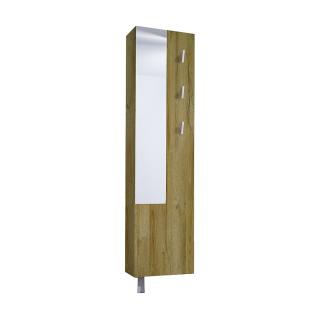Mäusbacher Woody Schuhschrank 0970_Sp drehbar mit Spiegel 3 Kleiderhaken und 10 verstellbaren Einlegeböden für Ihren Flur Dekor Grandson oak Nachbildung