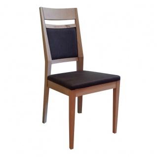 DKK Klose S34 Stuhl 3394 ohne Armlehnen mit gepolsterter Rückenlehne inkl Griff und gepolstertem Sitz Polsterstuhl für Esszimmer Gestell in Massivholz Ausführung Sitzkomfort und Bezug wählbar
