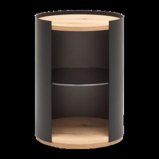 GWINNER Style Couchtisch CT102-40 mit Ablage und Sockelplatte in Balkeneiche furnier und Gestell in Metall anthrazit pulverbeschichtet inklusive einem Glasboden