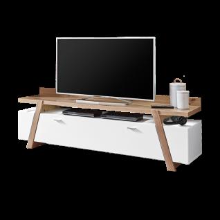 Ideal-Möbel Tessa Lowboard 32 mit zwei Schubkästen und zwei Türen in Eiche Artisan Melamin kombiniert mir Weiß