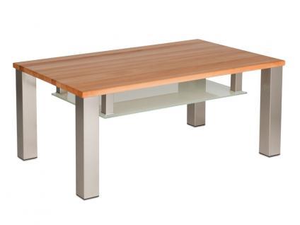 Vierhaus Couchtisch 4272 Tischplatte ca.105 x 65 cm aus Massivholz und Ablageboden aus satiniertem Glas Gestell nickelfarbig satiniert auf Rollen Holzausführung wählbar