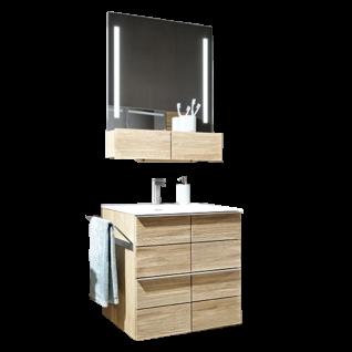 Voglauer V-Montana 3-teilige Badezimmerkombination Korpus und Abdeckplatten Tischlerplatte echtholzfurniert Front Massivholz inklusive Beleuchtung