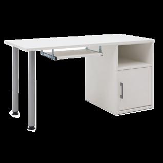 Priess Riva Schreibtischkombination bestehend aus Arbeitsplatte Stützcontainer 2 Stützfüssen und Tastaturauszug in Lichtweiss
