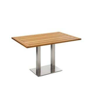 Niehoff Garden Bistro Gartentisch G503 mit rechteckiger Massivholztischplatte in Teak und mit Doppelsäule in Edelstahl gebürstet Tisch in wählbarer Größe und Holzausführung für Ihren Garten
