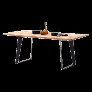 MCA furniture Esstisch Oslo ca. 180 cm breit Art.Nr. OS2180PZ Tischplatte aus Massivholz Zerreiche Stahlgestell schwarz