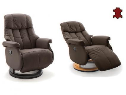 MCA furniture Calgary Relaxsessel L Comfort Bezug Leder Bezugsfarbe braun Gestell und Drehteller aus Formholz Gestellfarbe wählbar