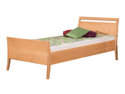 Neue Modular Primolar Sils Bett mit erhöhtem Fußteil aus Buche Massivholz Farbe natur Liegefläche wählbar optional mit einem Nachttisch