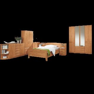 Wiemann Lausanne Schlafzimmer Einzelbett Drehtürenschrank 2 Nachtschränke Beistellmöbel in Erle oder Birke teilmassiv wählbar