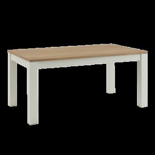 Niehoff Esstisch 1673 mit Auszug Tischplatte in Dekor Sonoma Eiche 4-Fuß Gestell weiß
